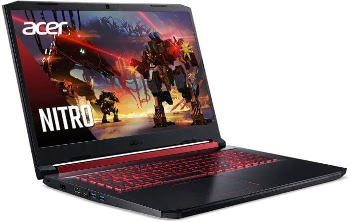 The Acer Nitro 5 AN517-51-76V6 gaming laptop features a 17.3-inch Full-HD IPS display with 144Hz screen refresh rates and a 3ms response time