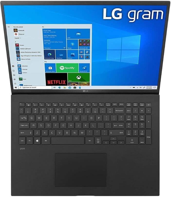 2021 Black LG Gram 17Z90P-K.AAB8U1-model with a nice power button