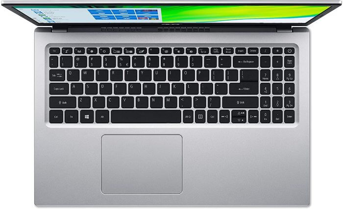 White letters on black painted keys on this Acer Aspire 5 slim laptop